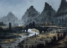 fantasy digital mountain settlement concept landscape village into 2d mountains dwarven