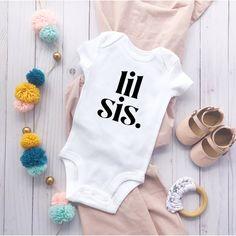 Baby Girl Vest, Custom Baby Onesies, Newborn Baby Gifts, Newborn Onesies, Sister Shirts, Trends, Baby Grows, Baby Bodysuit, White Bodysuit