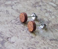 "Tiny Mahogany Wood Stud Earrings, Natural Wooden Earring, Surgical stainless Steel Posts - 1/4""(6mm) - 909 on Etsy, $14.99"