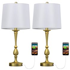 Oneach USB Table Lamp Set of 2 for Bedroom Modern Bedside Desk Lamp with USB Port for Living Room Coffee Table Antique Brass Table Lamp Sets, Room Lamp, Small Nightstand Lamps, Table Lamp, Modern Bedside, Lamp Sets, Living Room Coffee Table, Bedside Desk Lamps, Nightstand Lamp
