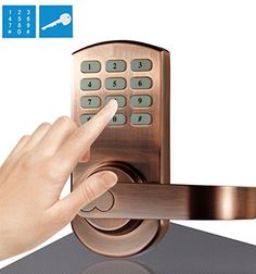 Keypad Door Lock Electronic Keyless Set Antique Copper Reversible Handle  Left Or Right Handle 209ac By