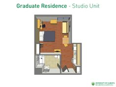 A studio unit layout. Note that there are different layouts for some unit types.
