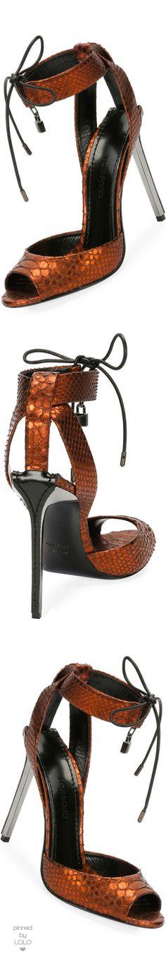 TOM FORD Metallic Python 105mm Padlock Sandal, Rust