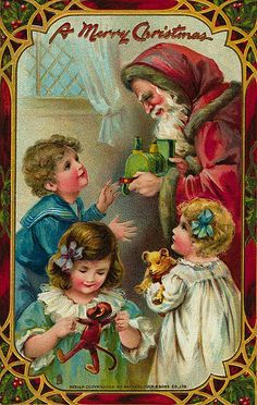 Victorian Santa Claus handing out gifts Vintage Christmas Images, Old Fashioned Christmas, Christmas Past, Victorian Christmas, Father Christmas, Christmas Pictures, Christmas Greetings, Christmas Crafts, Christmas Mantles