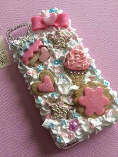 Quality Handmade Decoden iPhone 5/5s Case, Kawaii Decoden Phone Case, Silicone Fake Frosting, Phone Case with Icing by ExactNature on Etsy https://www.etsy.com/listing/197531984/quality-handmade-decoden-iphone-55s-case
