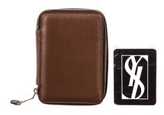 Saint Laurent Brown Leather Zip Around Case with YSL Playing Cards