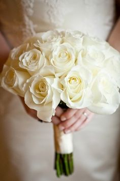 There's nothing more beautiful, clean, & refreshingly new than a bridal bouquet of white roses. A strikingly beautiful combination. White Rose Bouquet, Rose Bridal Bouquet, Hand Bouquet, Bride Bouquets, White Roses, Flower Bouquets, Rose Wedding, Floral Wedding, Wedding Flowers