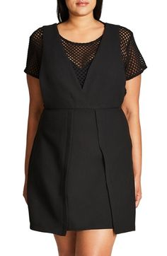 City Chic Sweet Pinafore Mock Two-Piece Dress (Plus Size) available at #Nordstrom