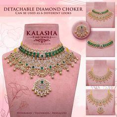 Detachable diamond necklace Diamond Earrings Indian, Diamond Necklace Set, Diamond Choker, Indian Jewelry Earrings, Diamond Jewellery, Emerald Necklace, India Jewelry, Gold Necklace, Gold Jewellery Design