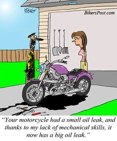 Image result for motorcycle oil leak cartoon
