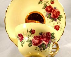 English Bone China Tea Cup/Saucer, Rose Transfer, Yellow Background, Gold Interior Band, Gold Foot.Anniversary Gift, Housewarming Gift