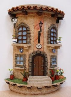 Risultati immagini per teja decorada en relieve Clay Houses, Ceramic Houses, Miniature Houses, Polymer Clay Fairy, Polymer Clay Projects, Clay Crafts, Clay Fairy House, Fairy Garden Houses, Clay Jar