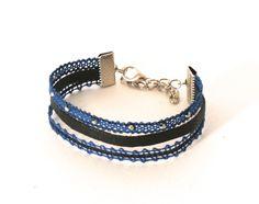 Bracelet trois rangs dentelle/cuir bleu Roy/noir