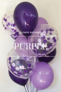 Bolsa con 6 Globos de colores (Lila y Púrpura) y 3 Globos rellenos de Confeti de Círculo (morado y lila). #decoracion #regalos 90th Birthday Parties, 65th Birthday, Sweet 16 Birthday, Birthday Diy, Grad Parties, Birthday Celebration, Purple Balloons, Helium Balloons, Birthday Party Decorations