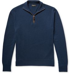 <a href='http://www.mrporter.com/mens/Designers/Berluti'>Berluti</a> is known for creating designs that are stylish and modern yet entirely wearable. This half-zip sweater is knitted from sumptuous storm-blue cashmere and finished with smooth chocolate suede trims. Wear it with everything from chinos to sweatpants.
