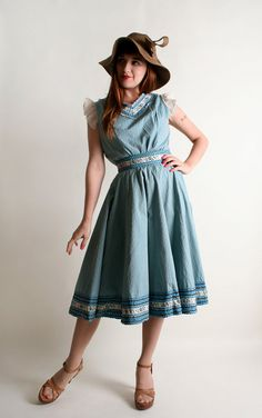 Vintage 1950s Patio Blouse & Skirt Set Sky Blue Gingham by zwzzy