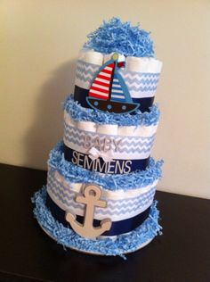 3 Tier Nautical Diaper Cake Boy Baby Shower by BabeeCakesBoutique, $60.00