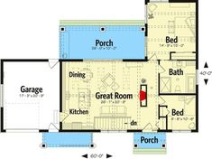 2 Bed House Plan with Vaulted and Beamed Ceilings and 1-Car Garage - 22495DR | Architectural Designs - House Plans