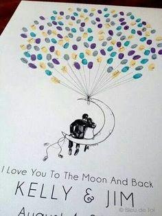 Empreintes souvenir... ... Tree Wedding, Our Wedding, Wedding Book, Moon Balloon, Thumbprint Tree, Fingerprint Tree, Fingerprint Wedding, Wedding Guest Book Alternatives, Unique Weddings