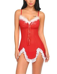 cb33fbf7a623f Imposes Womens Christmas Lingerie Red Santa Lace Babydoll Underwear Suit  Temptation