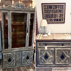 Available at Always Never Done in Landisville Pa. Adorable vintage matching hutch & petite buffet painted in Country Chic Cobblestone & Simplicity White Wash.  The pieces were then sealed in Daddy Van's wax ... of course in their Lavender scented wax (which is my favorite)! #confessionsofafurniturehoarder #countrysideheirlooms #countrychicpaint #countrychicpaints  #chalkpaint #chalkpaintedfurniture #forsaleinlancasterpa