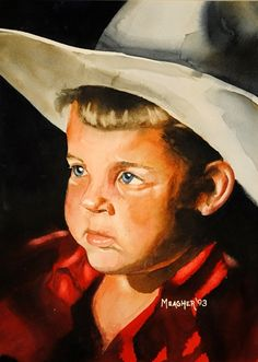 0301c9fa7043 Beautiful watercolor of a little boy wearing a cowboy hat. Portrait by  Plein Air and