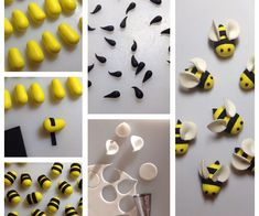 Bumble Bee Cupcake Toppers: Want to make some bees to decorate your cakes or cupcakes!You will need:Yellow sugarpasteBlack sugarpasteWhite sugarpasteSmall circle cutter or piping tipSmall rolling pinSharpe knife or scalpelEdible gluePicture of Bumble Bee Bee Cakes, Cupcake Cakes, Rose Cupcake, Fondant Cupcakes, Giant Cupcakes, Cake Decorating Tutorials, Cookie Decorating, Decorating Cakes, Bumble Bee Cupcakes