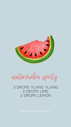 Essential Oils Guide, Essential Oil Uses, Doterra Essential Oils, Young Living Oils, Young Living Essential Oils, Essential Oil Diffuser Blends, Aromatherapy Oils, Spring Summer, Watermelon