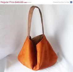 a5d88ff553 Cognac Vegan Suede Hobo handbag - Copper Animal Friendly Suede hobo - Made  to Order