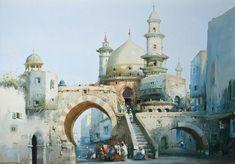 Risultati immagini per Arab city Fantasy City, Fantasy Places, Fantasy World, Fantasy Art Landscapes, Fantasy Landscape, Landscape Art, City Tattoo, Islamic Paintings, Minecraft Architecture