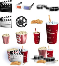 Set of vector cinema illustrations with popcorn, tickets, beverages for your movie theater related designs. Free Printable Stickers, Printable Planner, Planner Stickers, Free Printables, Project Life, Glam Planning, Movie Night Party, Movie Themes, Free Vector Graphics