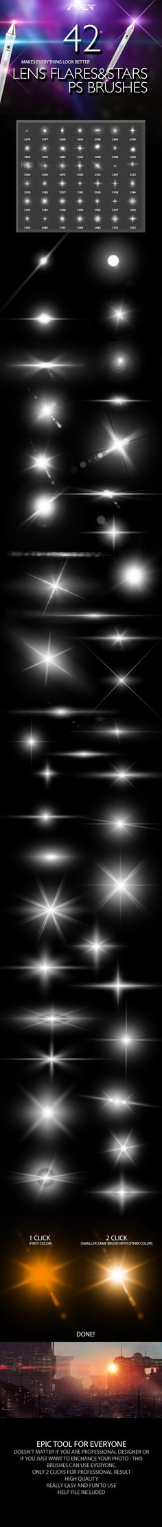 42 Lens Flares And Stars Photoshop Brushes by ArtistMEF  PSP can use the same brushes as Photoshop.