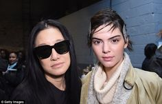 In good company: Designer Vera Wang and Kendall Jenner prepare backstage at the show...