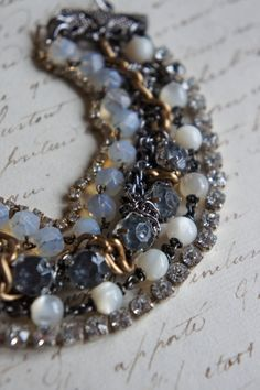 Vintage assemblage bracelet rhinestones by frenchfeatherdesigns, $58.00