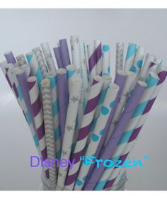 "Disney ""FROZEN"" Party Paper Straws  Princess Anna Queen Elsa FAST Shipping Mason Jar Straws on Etsy, $3.50"