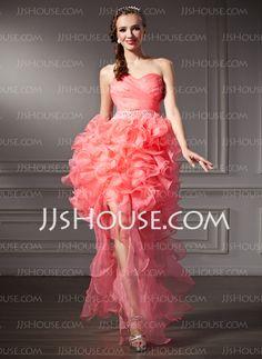 70dd97202d7 Forme Princesse Bustier en coeur Traîne asymétrique Organza Robe bal  d étudiant avec Emperler Robe à volants (018021091)