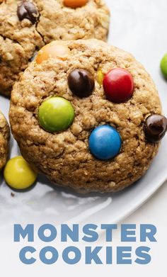 These thick and chewy monster cookies are the ultimate cookie recipe! Made with healthier ingredients, GF + DF friendly, and are SO GOOD. Vegan Gluten Free Cookies, Gluten Free Peanut Butter, Peanut Butter Desserts, Easy Desserts, Delicious Desserts, Dessert Recipes, Chocolate Chips, Chocolate Chip Cookies, Ultimate Cookie Recipe