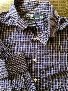 Men Polo Ralph Lauren Philip Blue White Large Plaid Shirt BRITTIMCO RESALE SHOP http://stores.ebay.com/Brittimco-Resale-Shop?_rdc=1