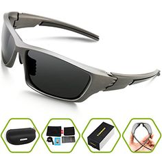Torege Polarized Sports Sunglasses For Cycling Running Fishing Golf Unbreakable Frame TR006 Grey *** Click image for more details. (Note:Amazon affiliate link)