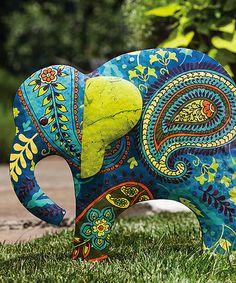 Blue Paisley Elephant Garden Stake