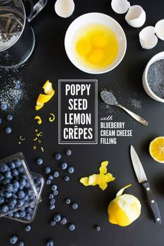 Lemon Poppyseed Crepes with Blueberry Cream Cheese Filling
