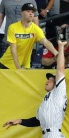 Best images of 2017 MLB playoffs  - October 21, 2017:  JUDGE DENIES A HOMER -  Aaron Judge of the Yankees saves a home run with a catch against the Indians in game three of the ALDS on Oct 8