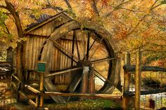 The water wheel at Old Dawt Mill, located in rural Ozark county Missouri.