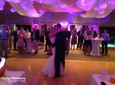Couple shares first dance with uplights and ceiling swag runners  #CincinnatiWedding #PartyPleasers #CeilingSwags #Uplights Voice Of America, First Dance, Runners, The Voice, Swag, Ceiling, Concert, Couples, Party