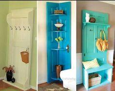 Love the corner shelf door art!