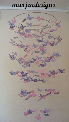 pink butterfly mobile, purple butterfly mobile, crib mobile, baby shower gift, wedding reception decor, nursery decor, teen room decor on Etsy, £27.60