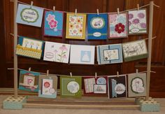 I love this little card clothesline display. Very cute cards too! Craft Stall Display, Craft Show Booths, Craft Fair Displays, Craft Show Ideas, Display Ideas, Card Displays, Booth Ideas, Craft Stalls, Noel Christmas
