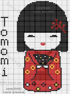 @ranasirel al çeyizine goblin işlersin :P Free Kokeshi Doll Cross Stitch Chart Pattern