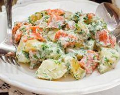 Potato salad with smoked salmon and dill - - Quinoa Salad Recipes, Salad Dressing Recipes, Super Dieta, Healthy Cooking, Healthy Recipes, Fast Food, How To Cook Quinoa, Potato Salad, Entrees