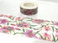 pink Lily washi tape 10M x 1.5cm pink flower calla by TapesKingdom